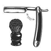 Monochrome illustration of straight razor and shaving brush