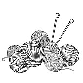 Monochrome illustration with wool balls for knitting and knitting needles. Vector illustration in sketch style. Black-white.