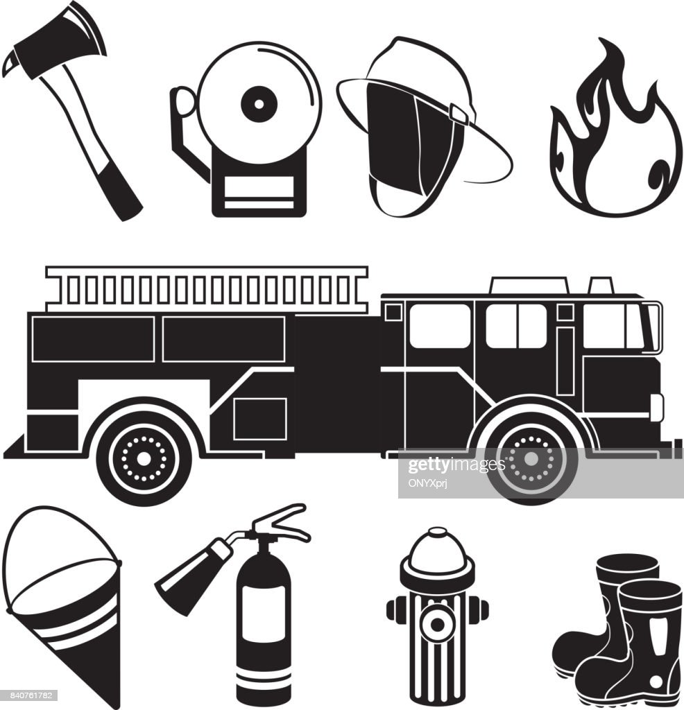 Monochrome illustrations of fireman tools in fire station department