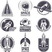Monochrome illustrations of space shuttle and astronauts for labels and badges