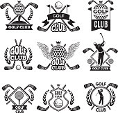 Monochrome labels for golf club. Illustration for sport tournament or competition