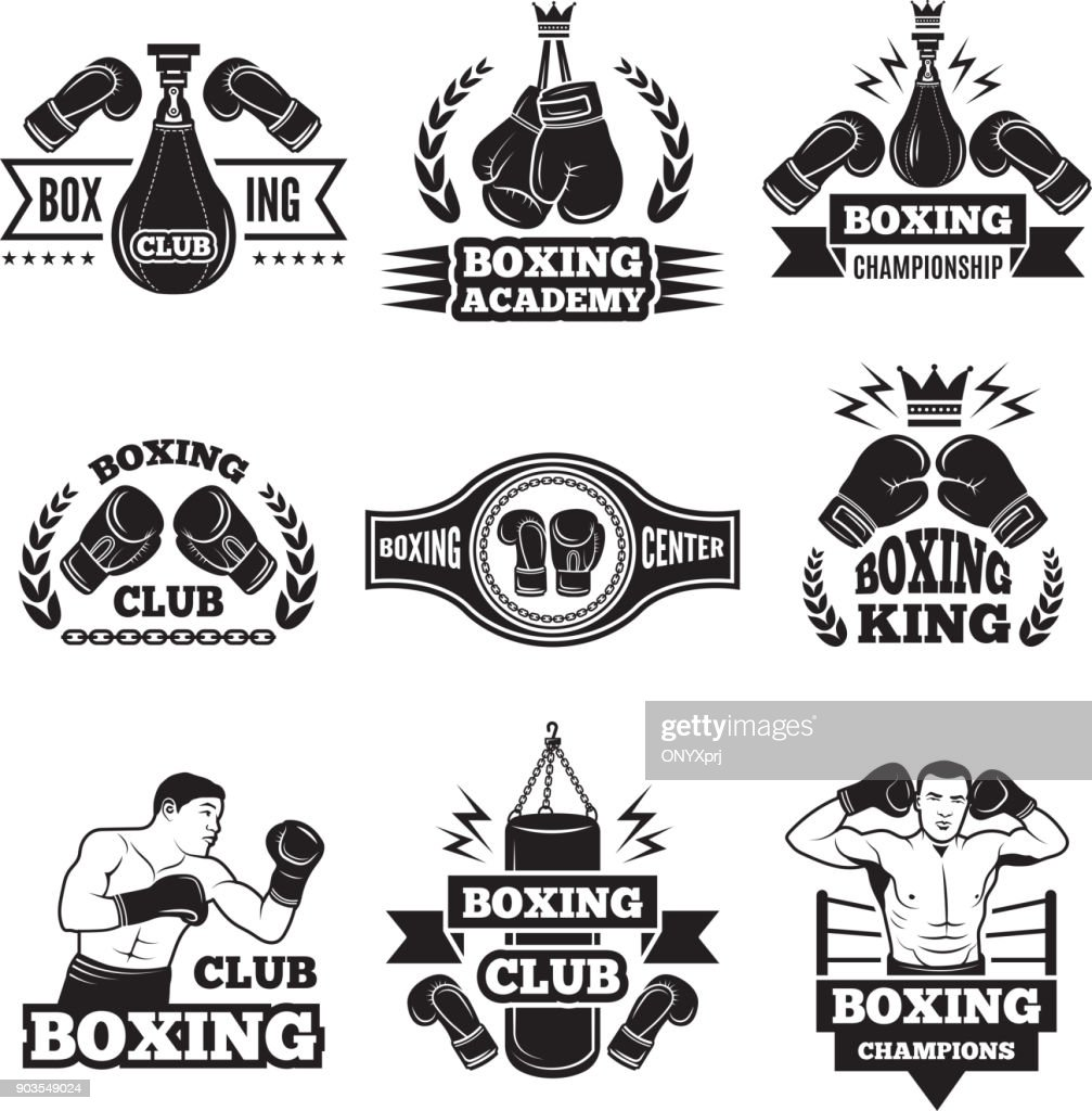 Monochrome labels set for boxing championship. Illustration of gloves and boxer