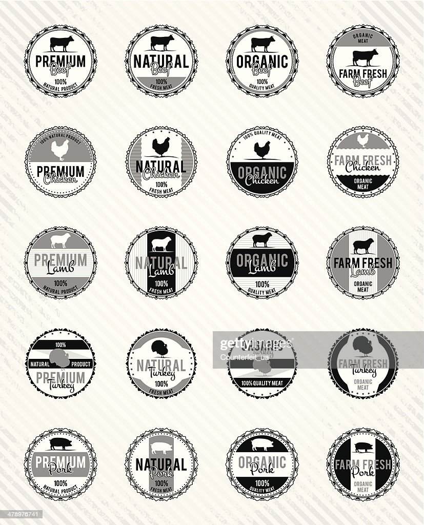 Monochrome Meat Labels Collection
