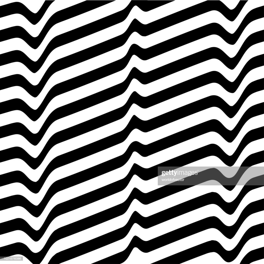 Monochrome movement illusion. White black abstract wave line optical background. Art design template.