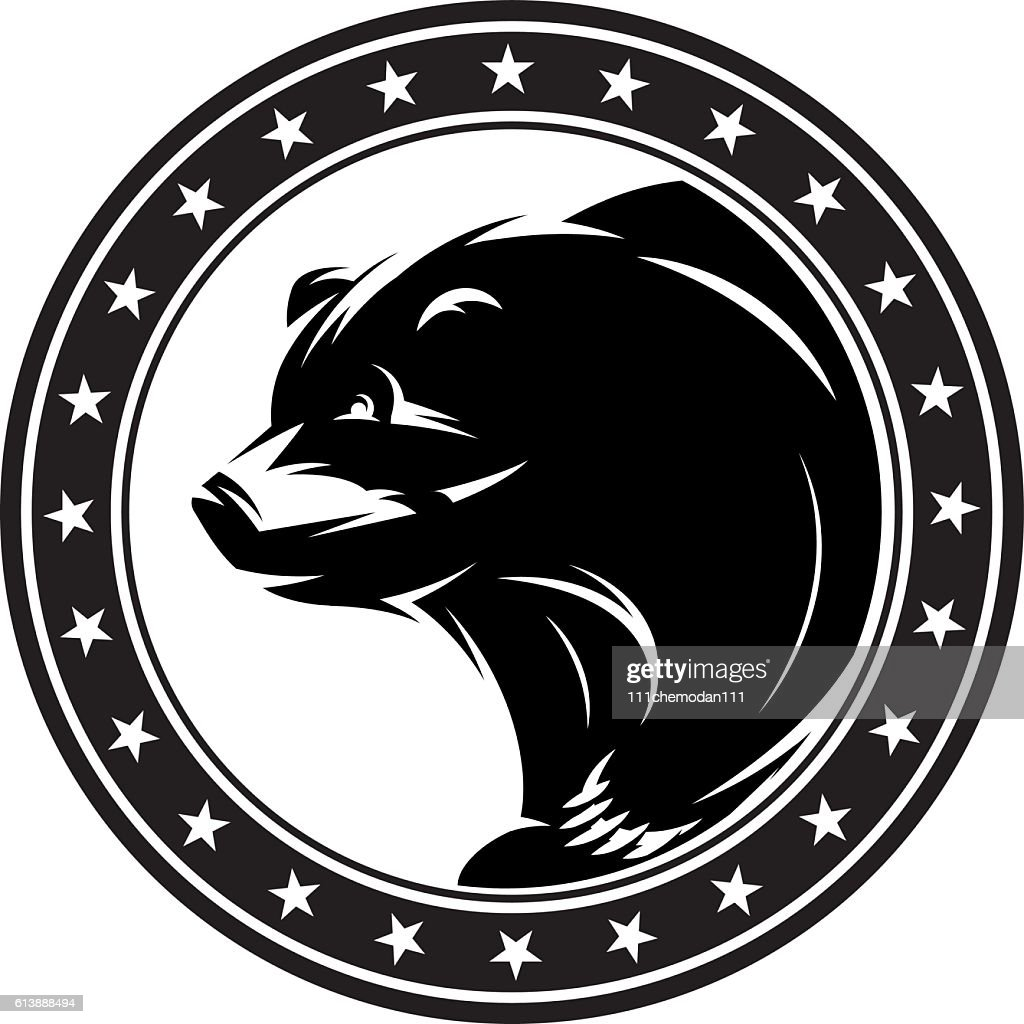 monochrome pattern with bear for a logo or packaging