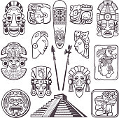 Monochrome pictures set of mayan culture symbols. Tribal masks and totems