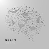 Monochrome polygonal wireframe brain isolated on background. Vector abstract graphic design. EPS10