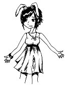 Monochrome rabbit girl anime manga cartoon sketched art vector