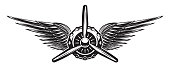 Monochrome retro banner with propeller and wings. Vector illustration.