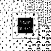 Monochrome seamless pattern collection.