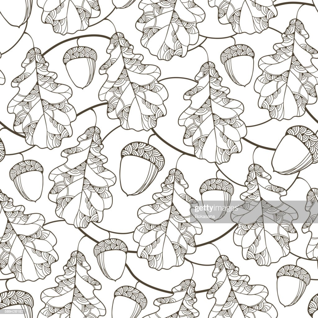 Monochrome seamless pattern with ornate oak leaves, branches and acorns.