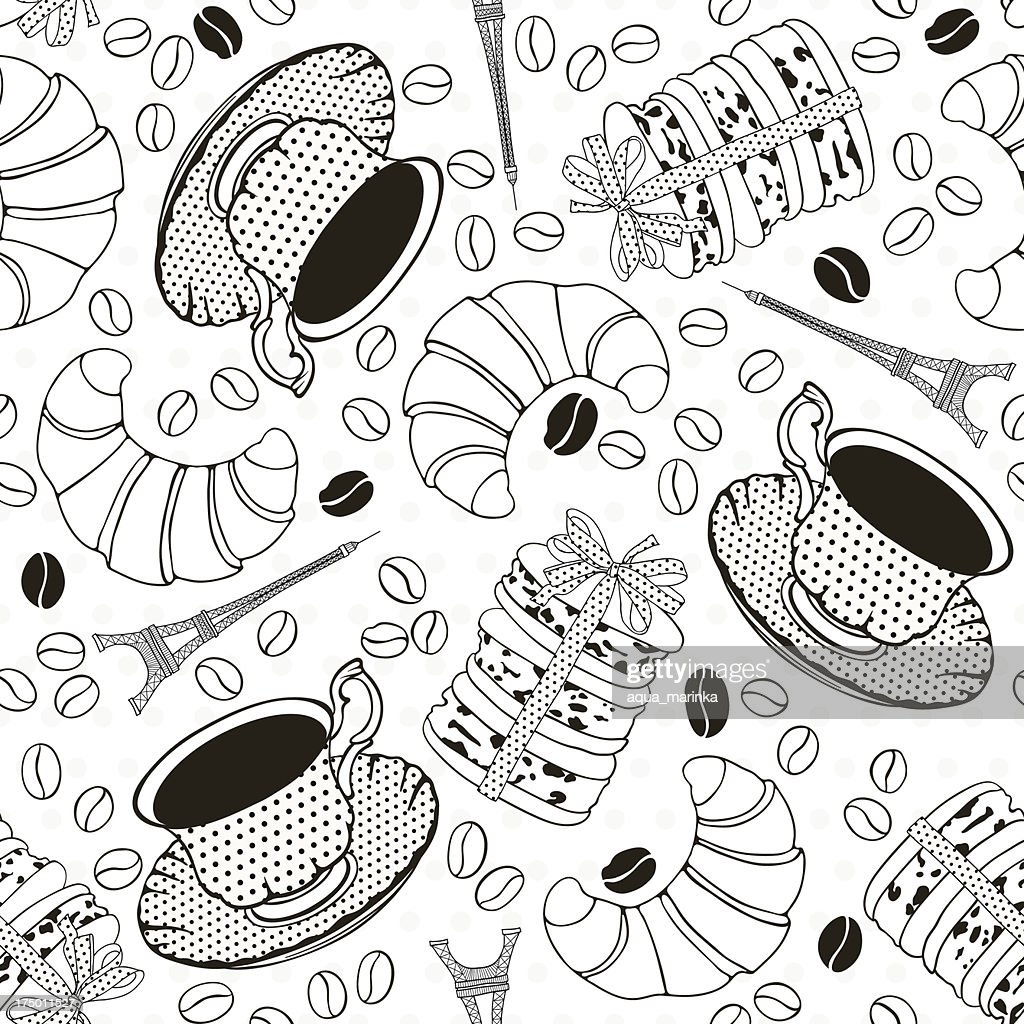 Monochrome Seamless Pattern With Symbols Of France French Breakfast