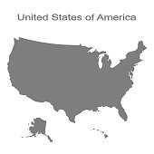 monochrome set with map of united states of america