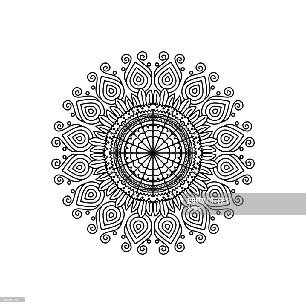 Monochrome Silhouette Blume Mandala Vintage Dekorativen Swirl ...