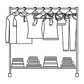 monochrome silhouette of clothes rack with t-shirts and pants on hangers and fold clothes on bottom