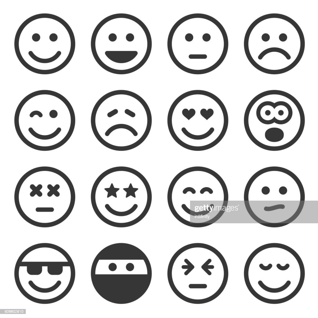 Monochrome Smile Icons Set on White Background. Vector