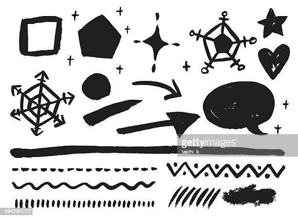 モノクロストローク - 書道点のイラスト素材/クリップアート素材/マンガ素材/アイコン素材