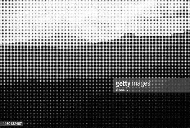 monochrome style mountain landscape halftone background - half tone stock illustrations