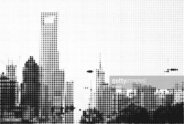 illustrazioni stock, clip art, cartoni animati e icone di tendenza di sfondo mezzitoni edificio ufficio shanghai in stile monocromatico - grattacielo