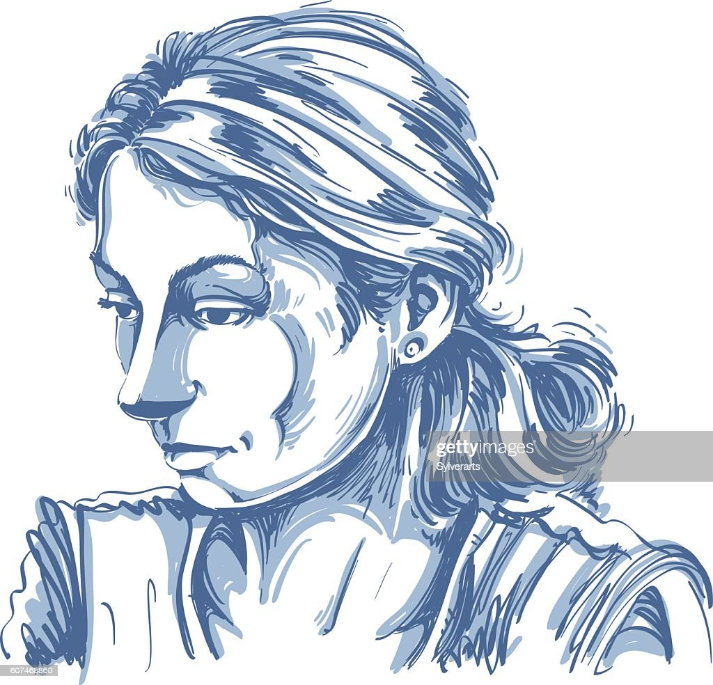 Monochrome vector hand-drawn image, sad or depressed young woman