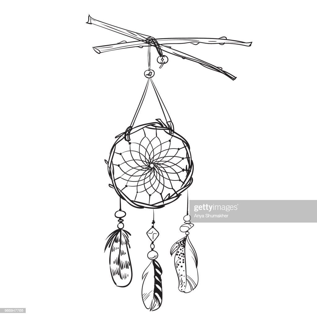 Monochrome vector illustration with hand drawn dream catcher. Ornate ethnic items, feathers and beads.
