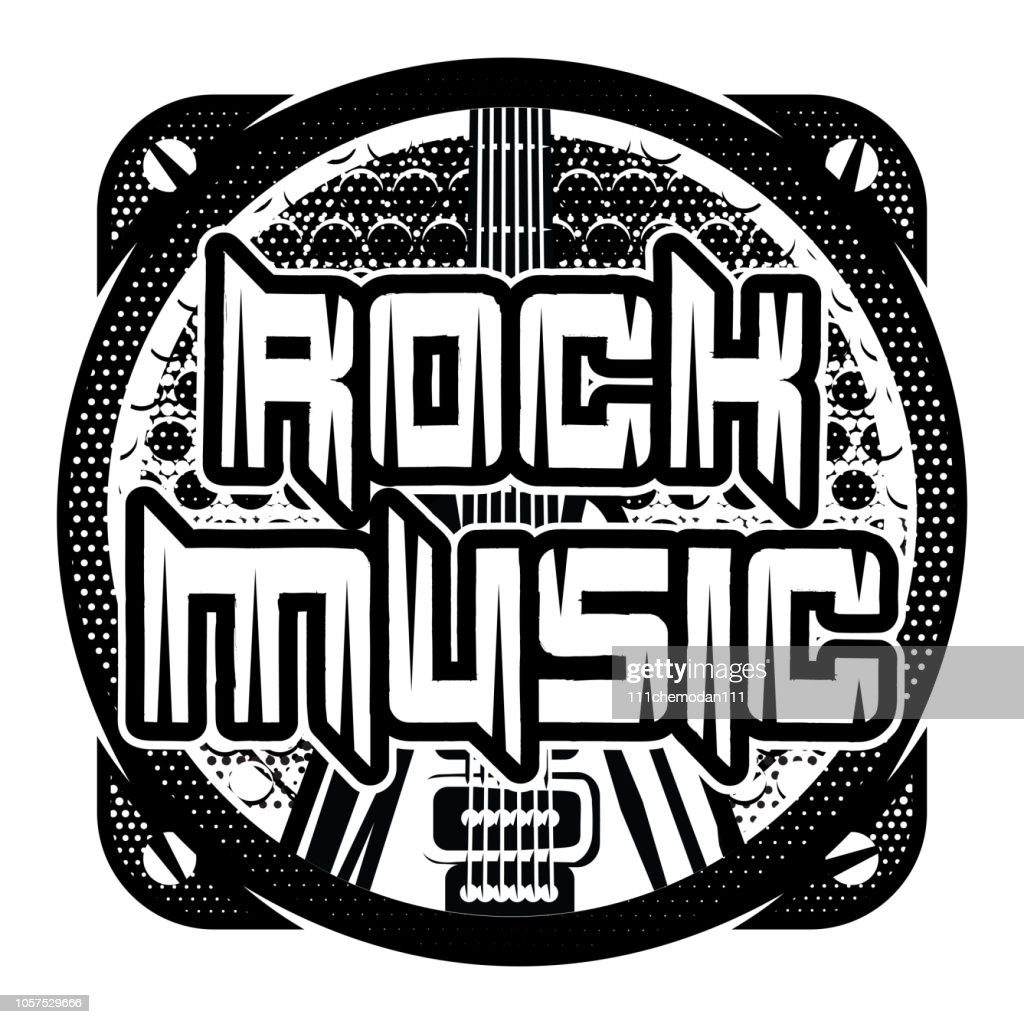 monochrome vector pattern on the theme of rock music with speaker and guitar