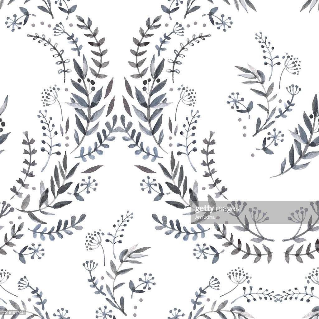 Monochrome watercolor floral pattern