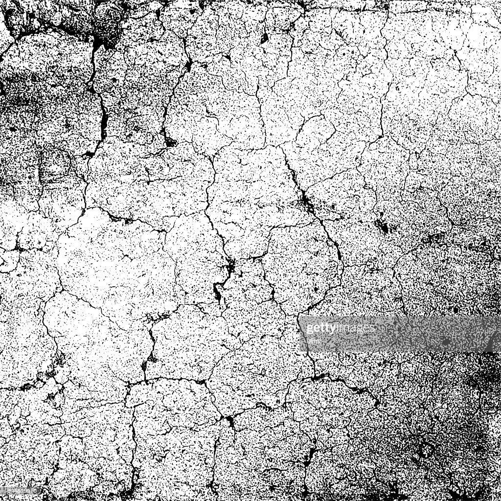 Monocrome grunge texture background. Cracks on the damaged stone wall. : Stock Illustration