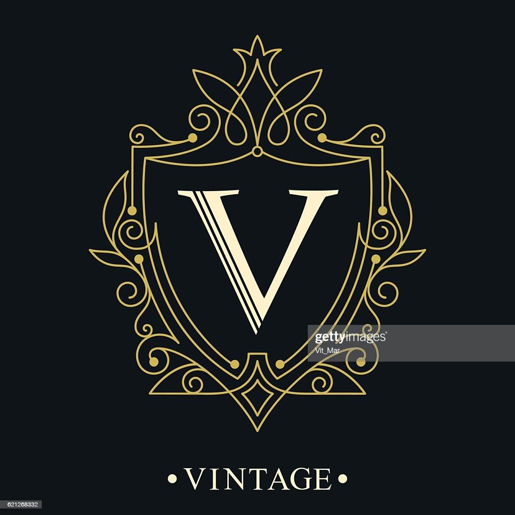 Monogram design elements, graceful logo template.