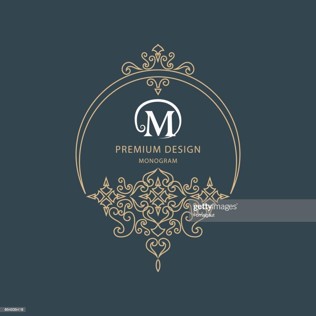 Lettre Signe Embleme M Pour La Royaute Carte De Visite Boutique Hotel Heraldique Cafe Bijoux Illustration Vectorielle