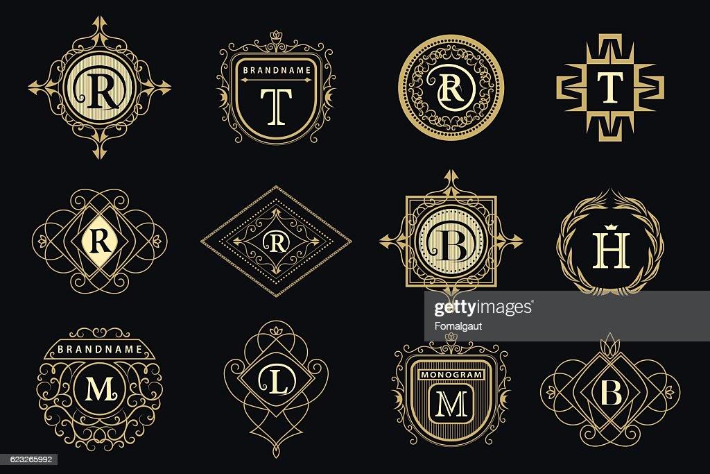 Monogram design elements, graceful template. Elegant business emblem, Vector illustration