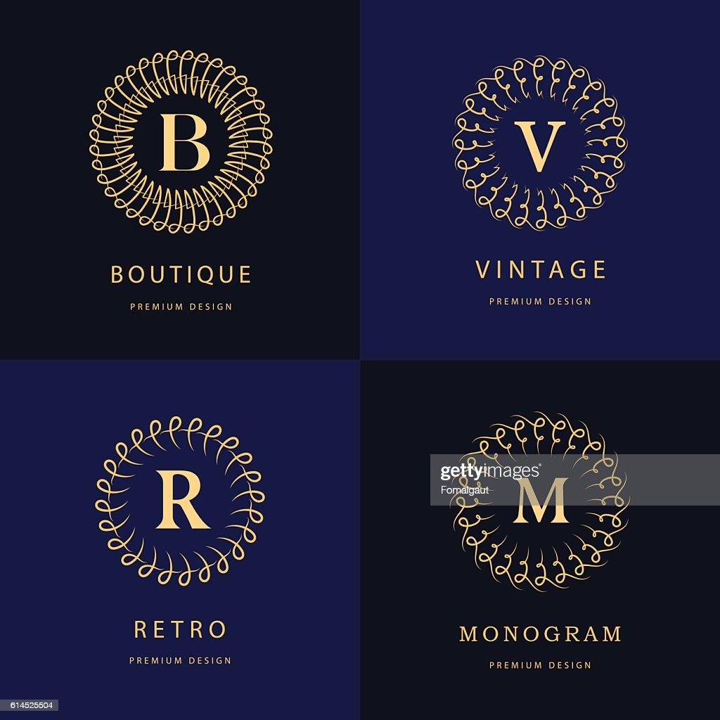 Monogram design elements, graceful template. Elegant business emblems, Vector illustration