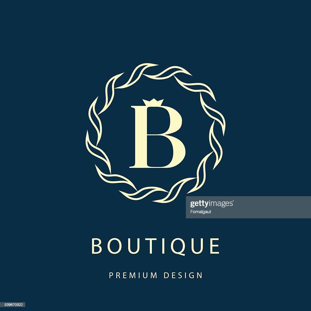 Monogram design elements, graceful template. Letter B. Emblem. Vector illustration