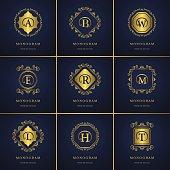 Monogram design elements, graceful template. Letter emblem B, A, E