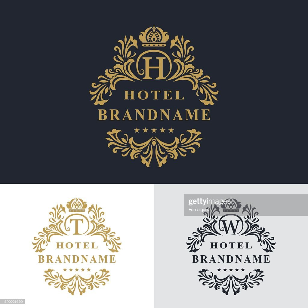Monogram design elements, graceful template. Letter emblem T, W, H
