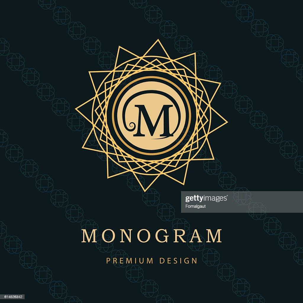 Monogram design graceful template. Elegant business emblem.  Letter M. VectoMr