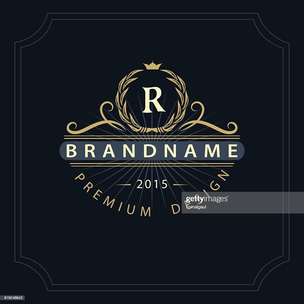 Monogram design graceful template. Elegant business emblem.  Letter R. Vector