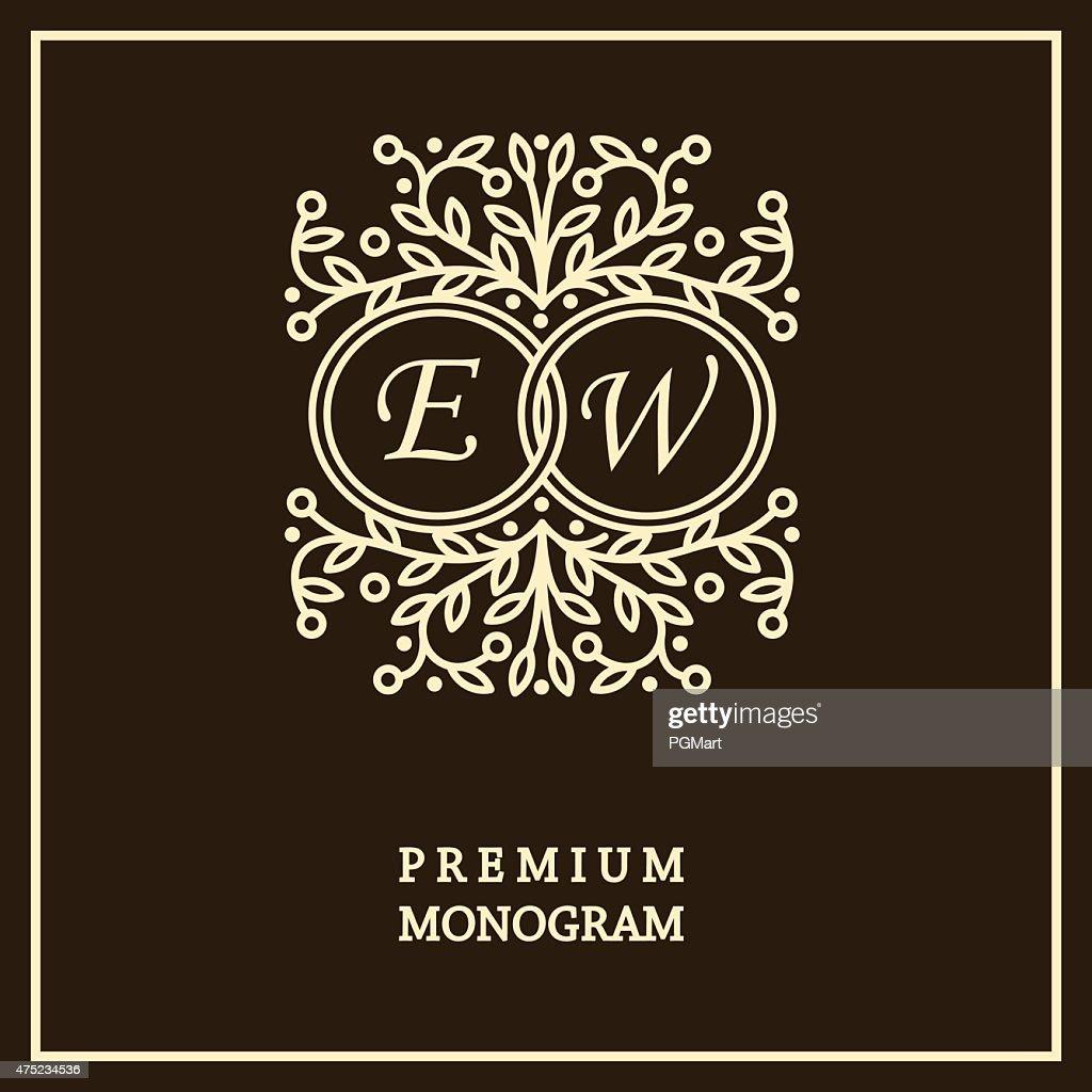 Monogram design template for two letters ,  Art Nouveau style