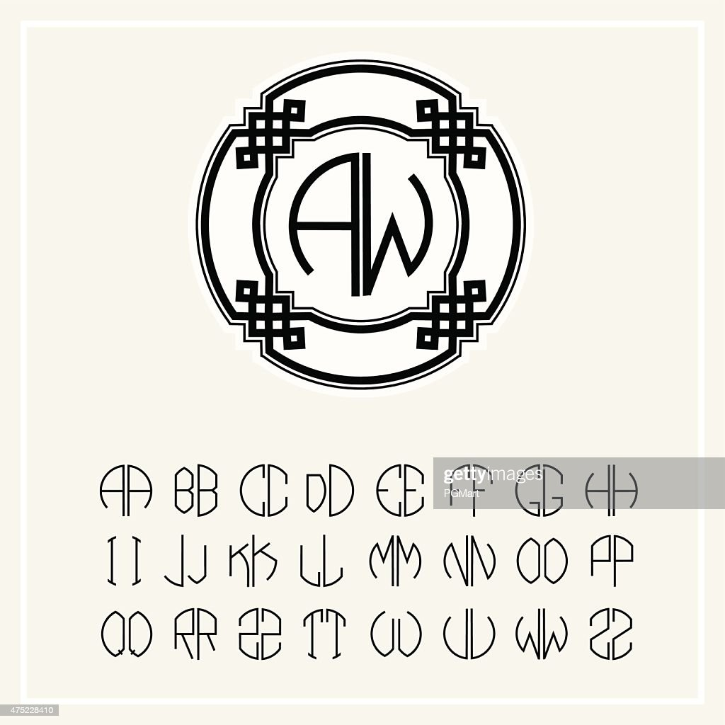 Monogram , Elegant line art logo  in Art Nouveau Style