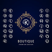 Monogram Graceful Template. Set of Stylish Capital Letters with a Curl. Simple Logo. English Alphabet. Elegant Line Art Design. Emblem for Crest, Royalty, Boutique, Hotel, Restaurant, Heraldic. Vector