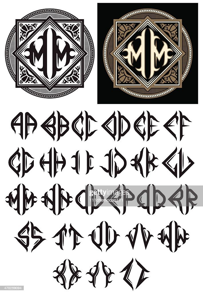 monogram in the Art Nouveau style with a full alphabet