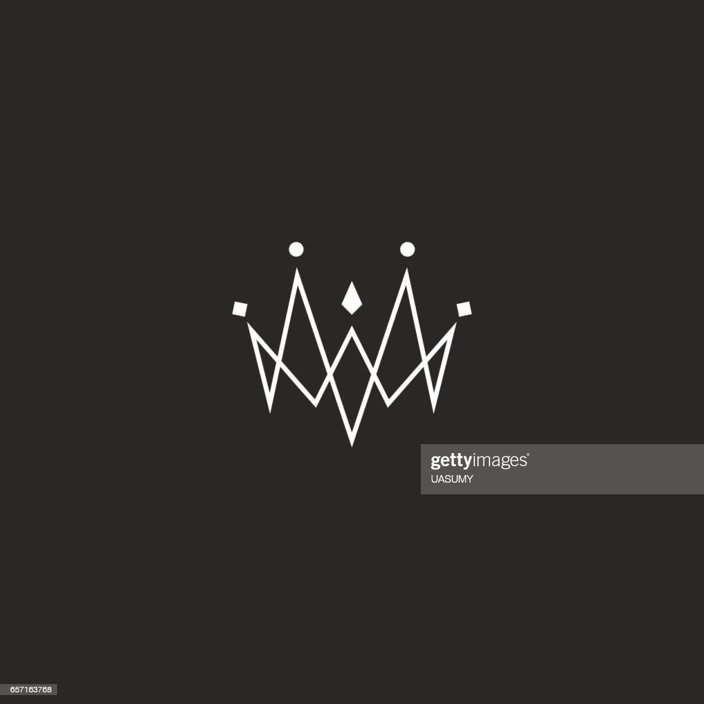 Monogram jewel crown icon, jewelry emblem mockup, linked thin lines style