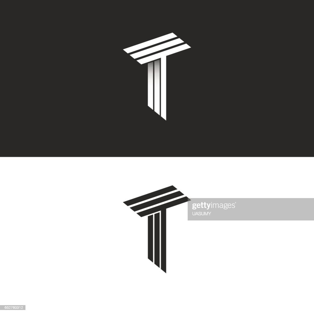 Monogram letter T logo black and white isometric initials together TTT icon, 3D hipster typography design element
