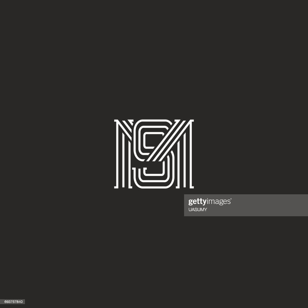 Monogram MS letters icon overlapping lines simple hipster typography design element, combination M and S initials wedding invitation emblem