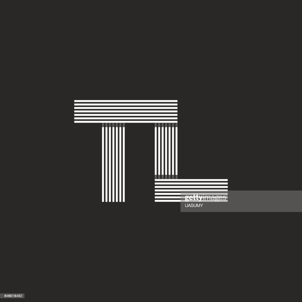 Monogram Letters Tl Icon Combination Initials T And L Symbols Black