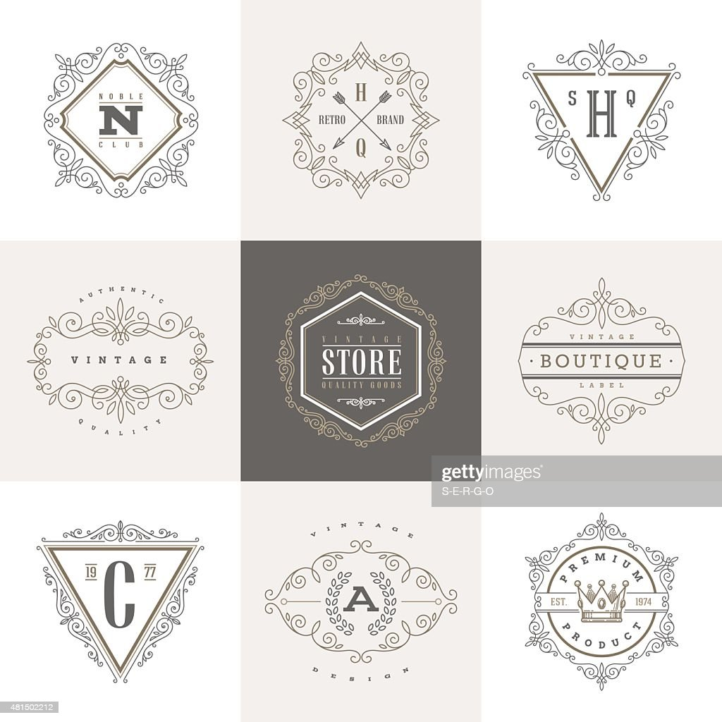 Monogram logo template with flourishes calligraphic elegant ornament elements