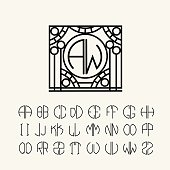 Monogram Template with two letters inscribed in a circle