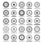 Monogram vector template design - big set. Elegant wedding or company monogram sign,  single letter and floral or abstract frame ornament