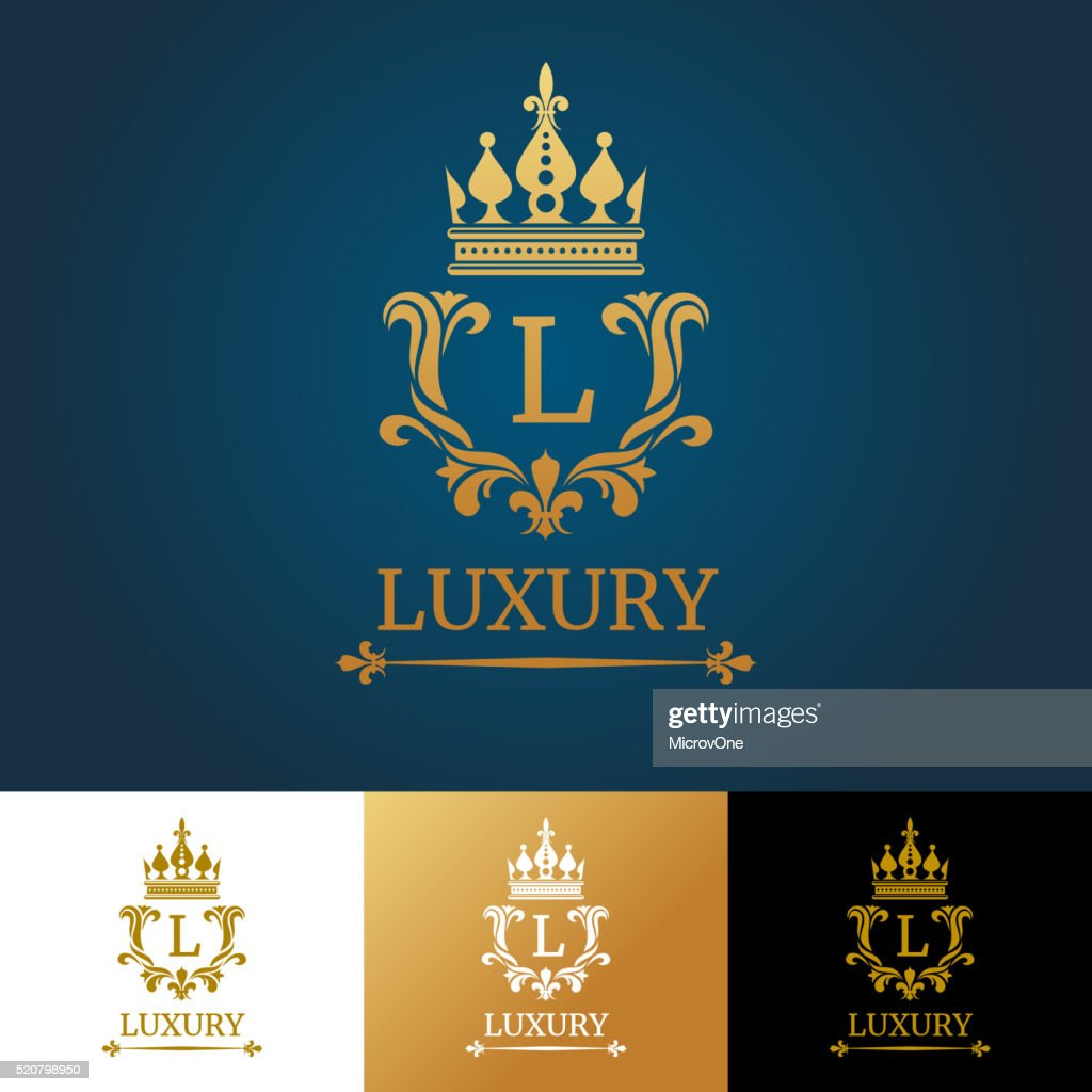 Monogram with crown. Royal design vector logo template