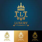 Monogram with crown. Royal design vector logo template